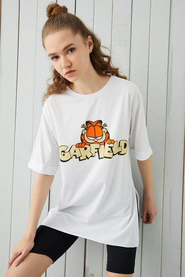 Yeşil Baskılı Yırtmaçlı Oversize T-shirt