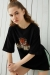 Siyah Garfield Baskılı Yırtmaçlı Oversize Tshirt