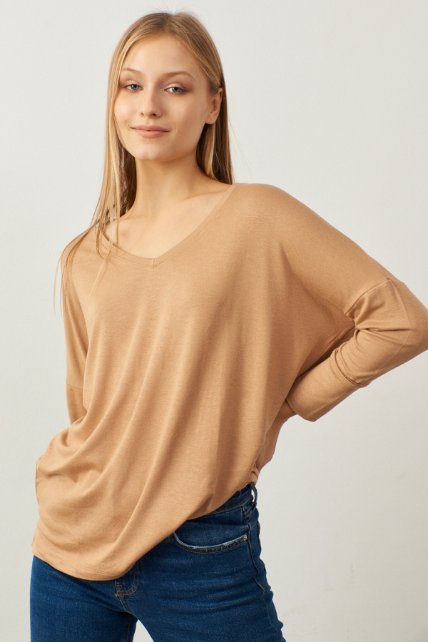 Kadın Camel V Yaka Basic Bluz
