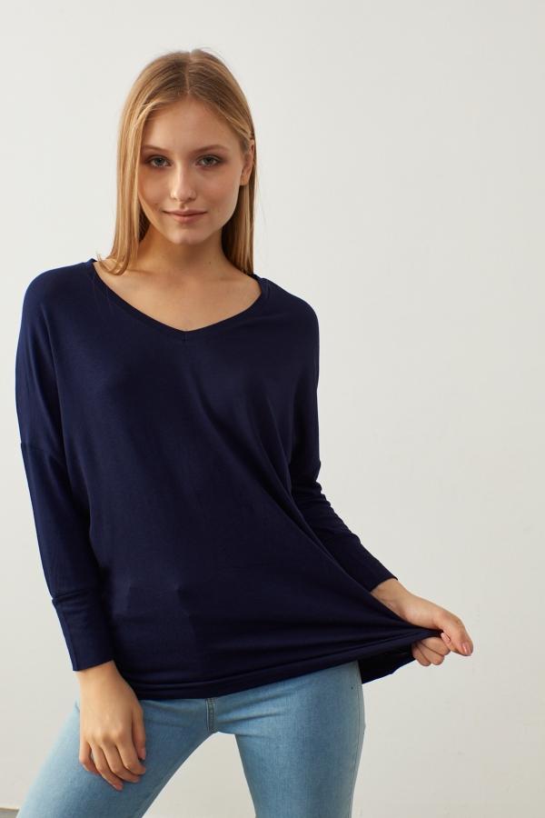 Kadın Lacivert V Yaka Basic Bluz