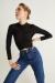 Kadın Siyah Ön Büzgü Detaylı Bluz