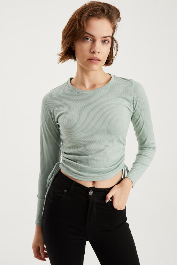 Kadın Yeşil Yandan Büzgülü Bluz