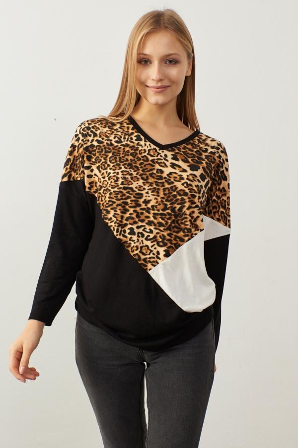Kadın Camel Siyah Leopar Garnili Bluz