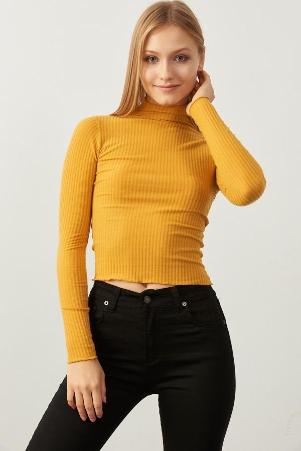 Kadın Sarı Yarım Balıkçı Kol Ve Boğaz Detaylı Kaşkorse Bluz