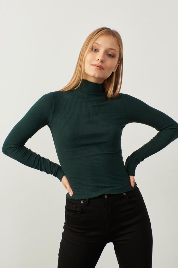 Kadın Yeşil Yarım Balıkçı Kol Ve Boğaz Detaylı Kaşkorse Bluz