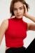 Kadın Kırmızı Balıkçı Yaka Sıfır Kol Crop Bluz