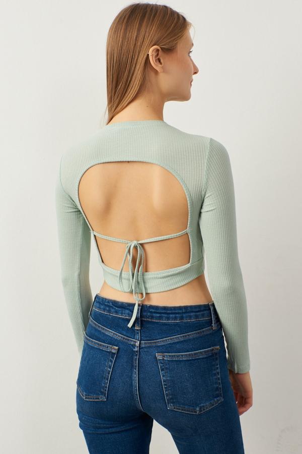 Kadın Yeşil Sırt Dekolteli Uzun Kol Crop Bluz