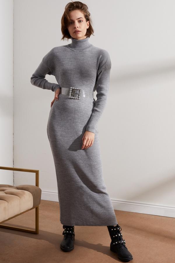 Kadın Gri Balıkçı Yaka Triko Elbise