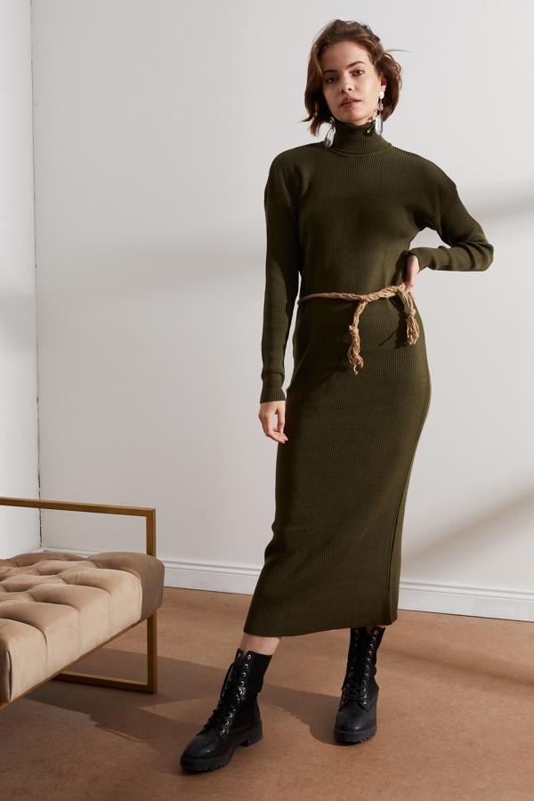 Kadın Haki Balıkçı Yaka Triko Elbise