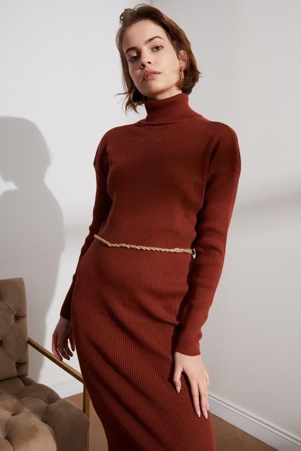 Kadın Kahverengi Balıkçı Yaka Triko Elbise
