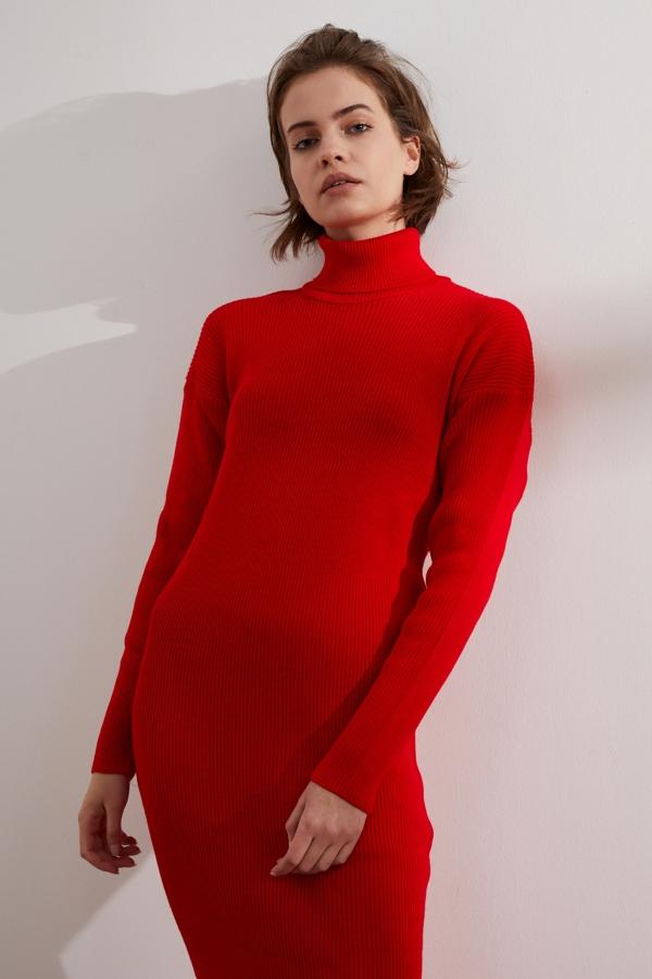Kadın Kırmızı Balıkçı Yaka Triko Elbise