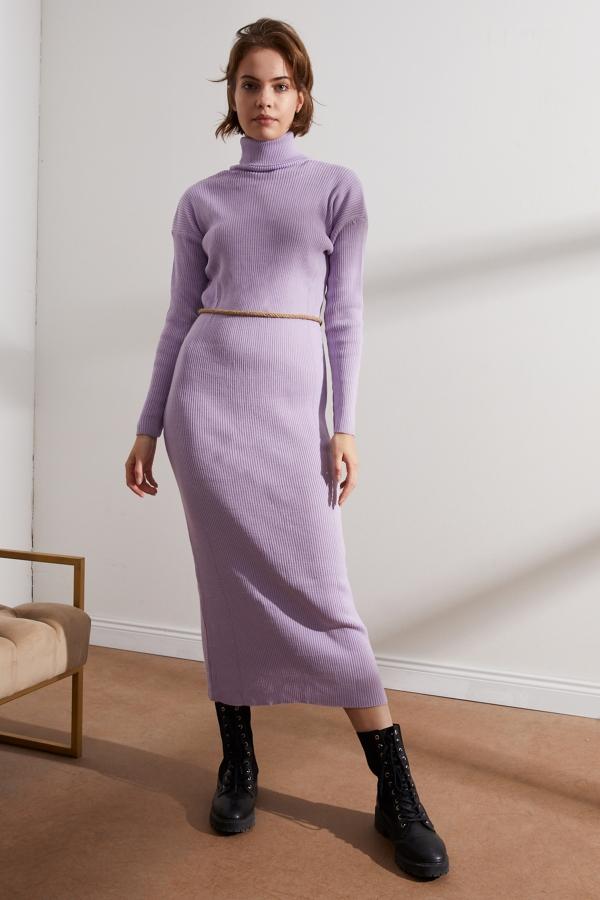 Kadın Lila Balıkçı Yaka Triko Elbise