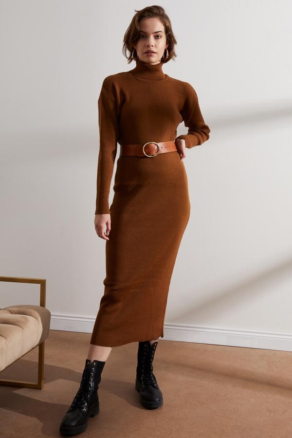 Kadın Tütün Renk Balıkçı Yaka Triko Elbise