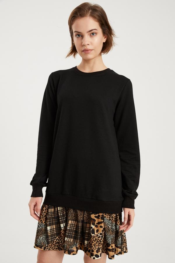 Kadın Siyah Kareli Leopar Desenli Sweat Elbise