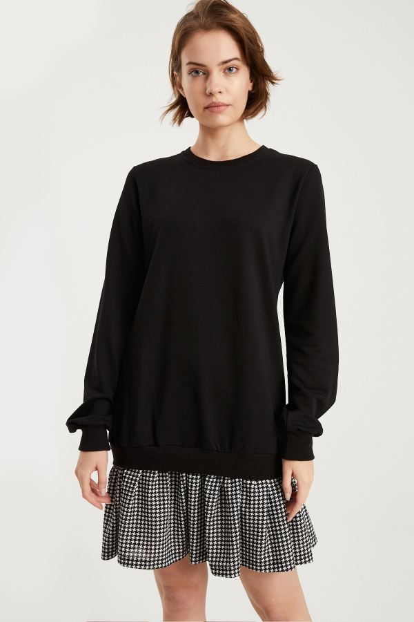 Kadın Siyah Kazayağı Desenli Sweat Elbise