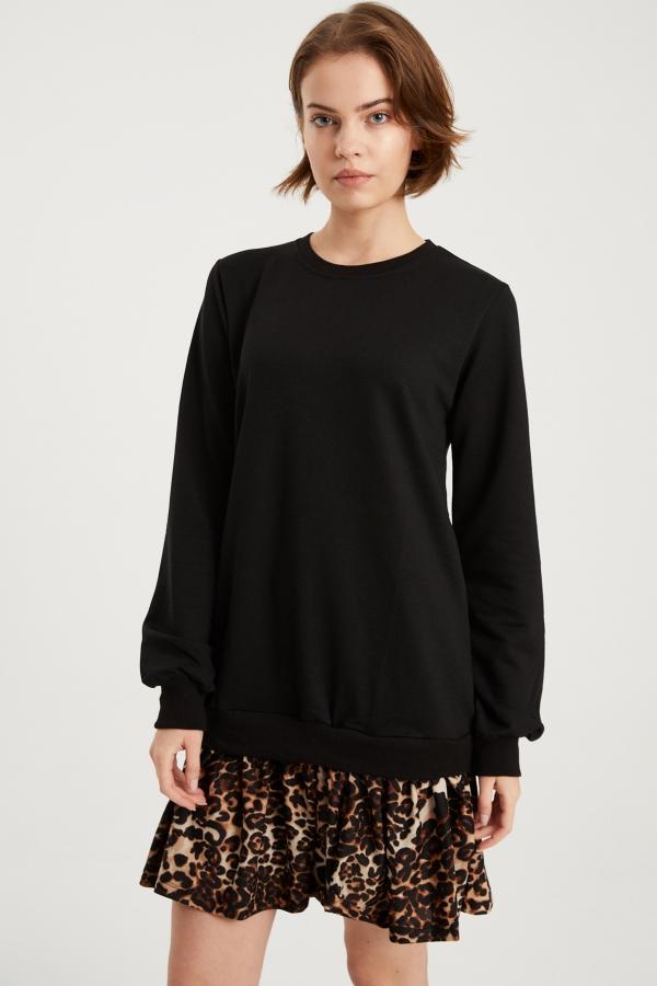 Kadın Siyah Leopar Desenli Sweat Elbise