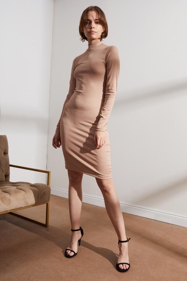 Kadın Vizon Sırt Dekolteli Elbise