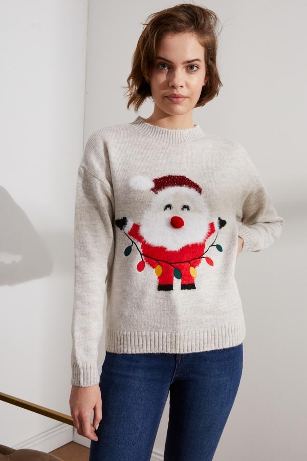 Kadın Ekru Noel Baba Tasarımlı Kazak