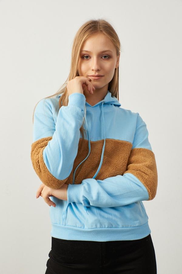 Mavi Kapüşonlu Peluş Detaylı Sweatshirt