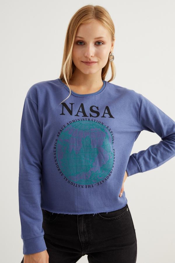 Kadın Mavi Nasa Baskılı Sweatshirt