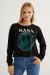 Kadın Siyah Nasa Baskılı Sweatshirt