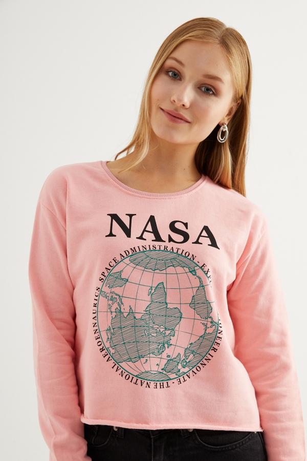 Kadın Toz Pembe Nasa Baskılı Sweatshirt