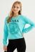 Kadın Turkuaz Nasa Baskılı Sweatshirt
