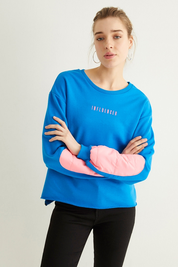 Mavi İnfluencer Kol Neon Detaylı Sweatshirt