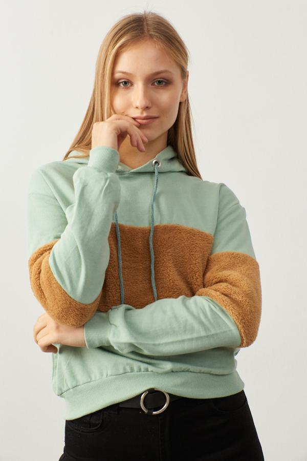 Yeşil Kapüşonlu Peluş Detaylı Sweatshirt