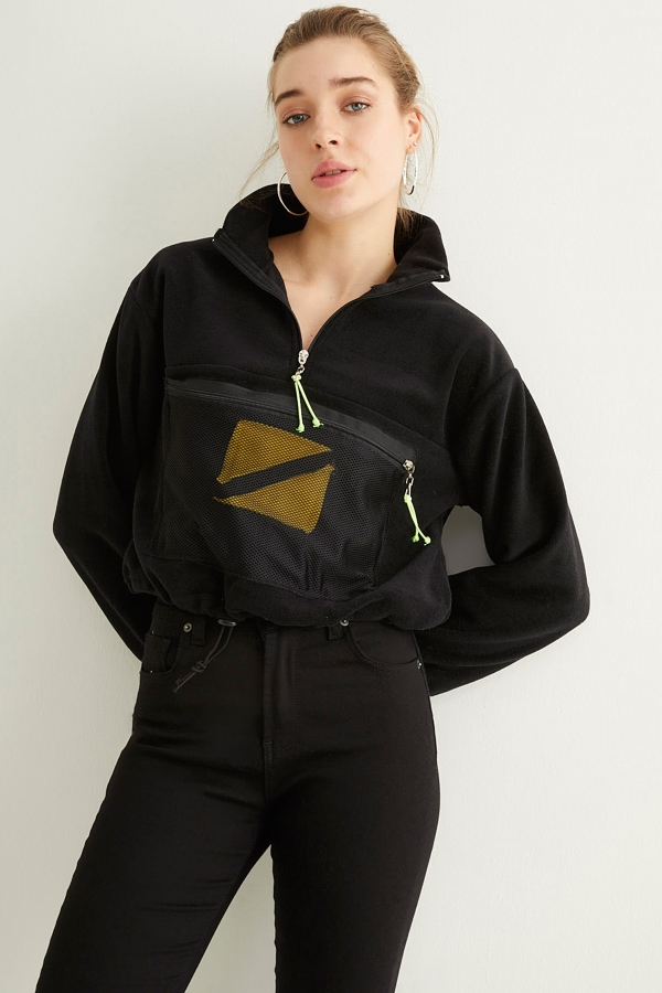 Siyah Yarım Fermuarlı File Cepli Sweatshirt